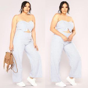 NWT Fashion Nova Blue Cruise Ship Stripe Jumpsuit